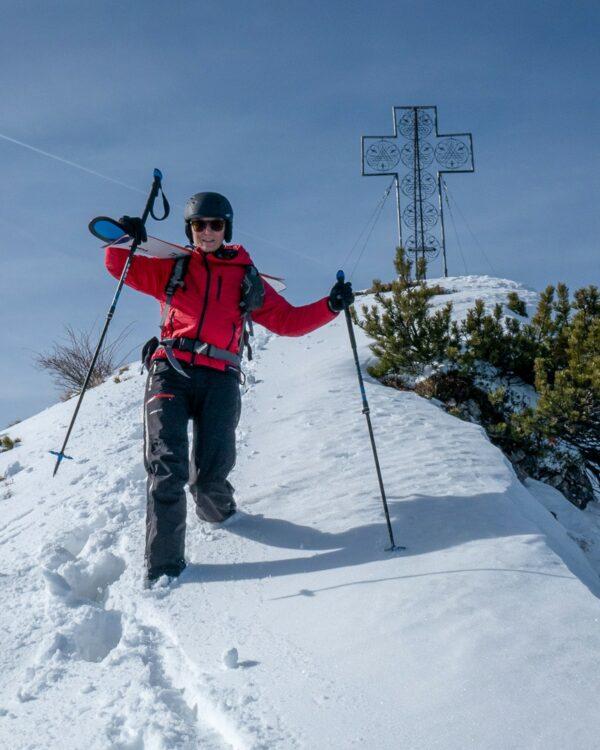 skitour auf die Mondspitze mit der Hardshellhose Valluga unisex und der Isolationsjacke Manaslu für Damen