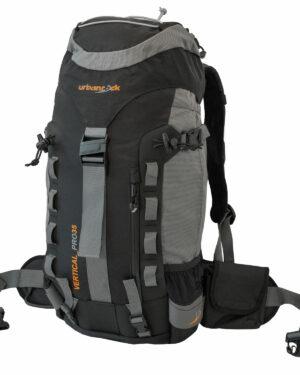 Rucksack Vertical Pro 35 für Wanderungen, Skitouren und Alpine Hochtouren. Mit 35 Liter Volumen, Regenhülle, Sitzmatte, Trinksystembefestigung, Eispickel- und Stockhalterung und Skibefestigung.