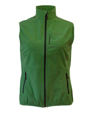 Winddichte Damen-Weste in grün mit geringem Packvolumen