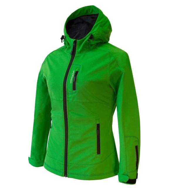 Produktfoto der Softshelljacke Muntanitz, Damenmodell in grün seitlich