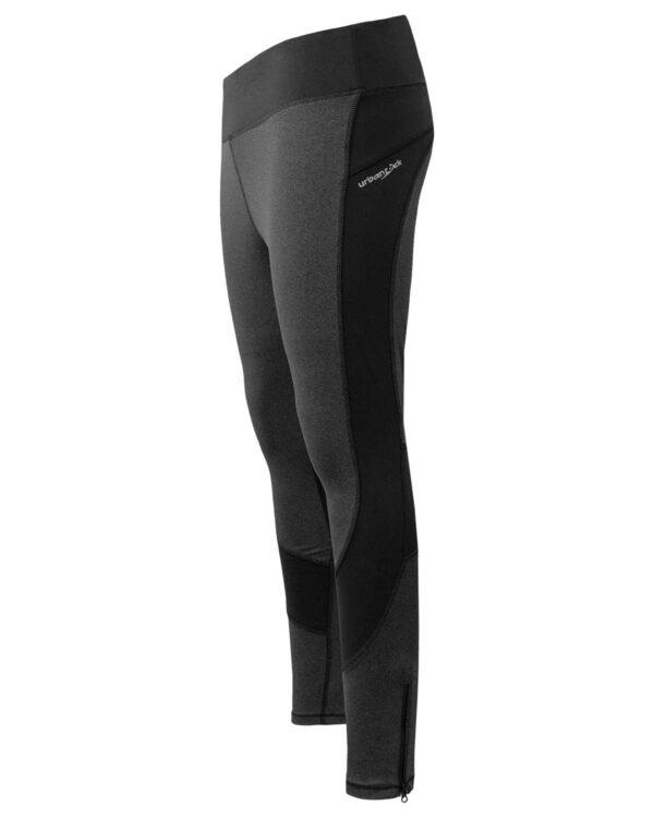 Seitenansicht der Tight/Leggings Spirit für Damen. Mit Reißverschluss an der unteren Kante und moderner Nahtführung.