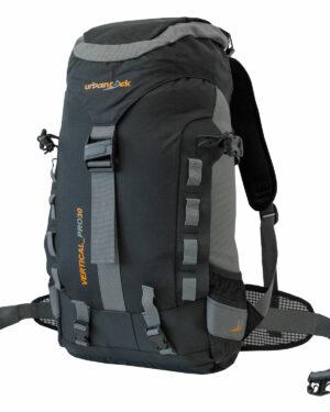 Rucksack Vertical Pro 30 für Wanderungen, Skitouren und Alpine Hochtouren. Mit 30 Liter Volumen, Regenhülle, Sitzmatte, Trinksystembefestigung, Eispickel- und Stockhalterung und Skibefestigung.