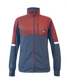 Produktbild der Fleece-Jacke Hybrid, Frauen-Version, in Dunkelrot mit winddichter Softshell-Verstärkung