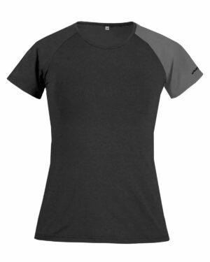 Produktbild des Funktionsshirt Piona, aus einem Materialmix von TENCEL™ Lyocellfasern und Baumwolle, in schwarz/grau