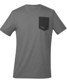 Produktbild des Funktionsshirt Piona, aus dem Material TENCEL™/Lyocell und Baumwolle in grau/schwarz mit Brusttasche