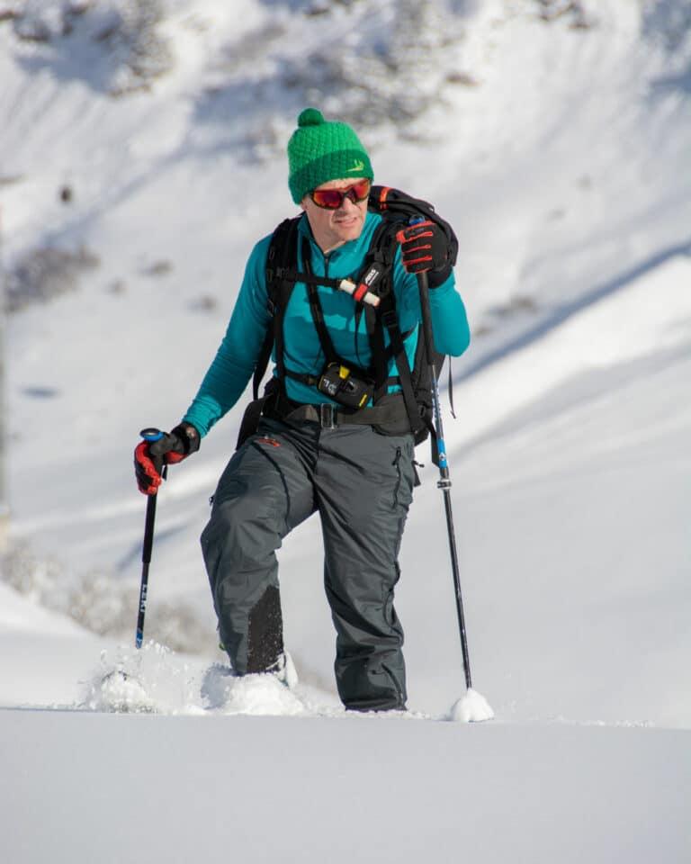 Skitourenhose für Skitour bei schlechtem Wetter oder alpinen Bedingungen. Am Muggengrat