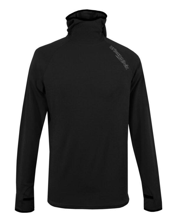 Fleece Pullover mit Kapuze, Unisex in schwarz