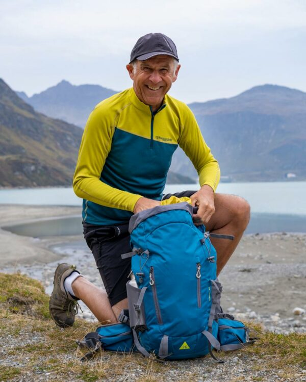 Mit Pullover Zebru und Rucksack Terra unterwegs um den Silvretta Stausee in Vorarlberg